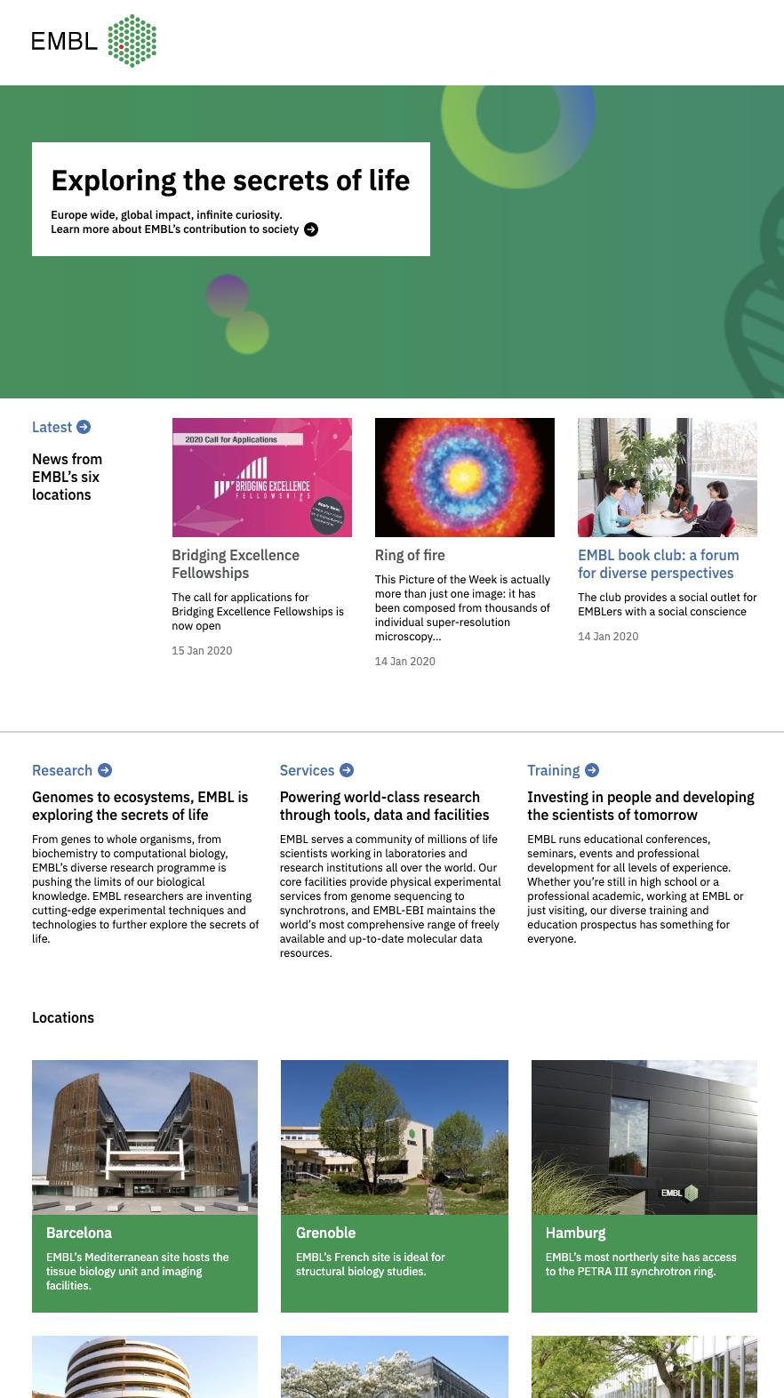 A screenshot from embl.org