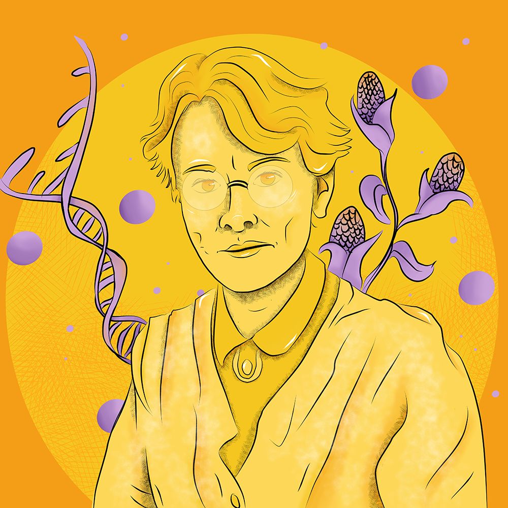 Portrait illustration of geneticist Barbara McClintock, maize crops and DNA molecule in the background.