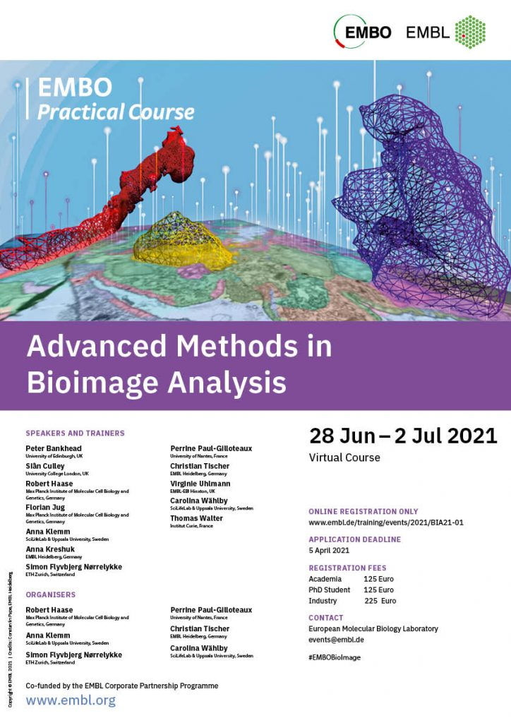 Poster of the course with the speakers and practical information