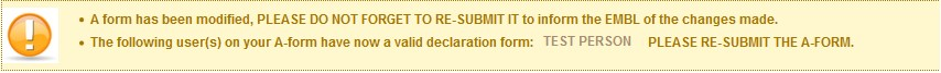 screen message for validation of the declaration form.