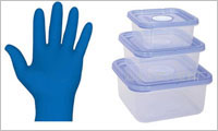 glove and plastic boxes