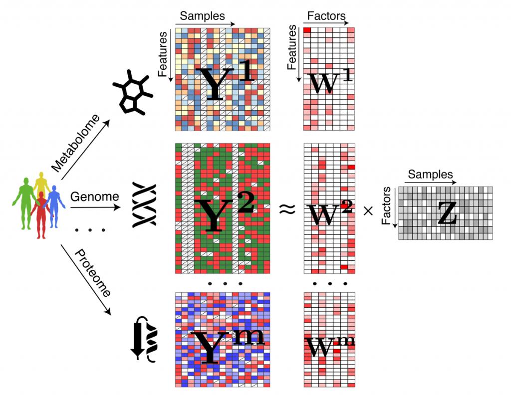 Illustration of a statistical method for integrating multiple omics datasets (Stegle research group, EMBL Hidelberg))
