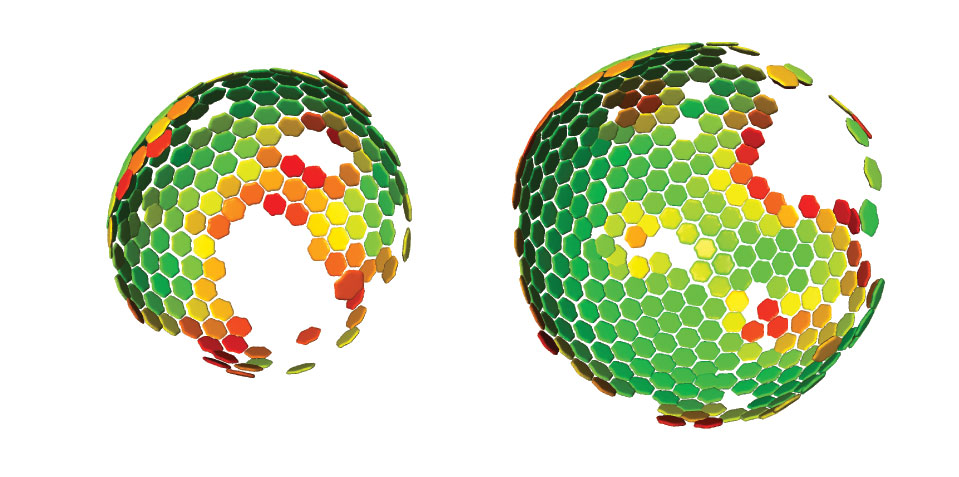 Lattice maps for immature HIV particles. The 3D computer reconstruction shows the immature Gag lattice of HIV that matures to form the protein shell of the infecious virus. Maps are shown in perspective such that hexamers on the rear surface of the particle appear smaller. The side of the particle toward the viewer lacks ordered Gag. IMAGE: John Briggs/EMBL