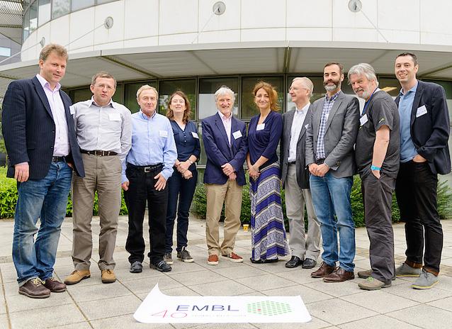 (L-R) Ewan Birney (Associate Director, EMBL-EBI), Vladimir Benes (Head of Genomics Core Facility, EMBL Heidelberg), Boris Kholodenko (Deputy Director, SBI), Eileen Furlong (Head of Genome Biology, EMBL Heidelberg), Iain Mattaj (Director General, EMBL), Mehrnoosh Rayner (Head of Alumni Relations, EMBL), Walter Kolch (Director, SBI), Dónal O'Carroll (Group Leader, EMBL Monterotondo), Des Higgins (Prof. of Bioinformatics at UCD) and Anton Enright (Group Leader, EMBL-EBI).