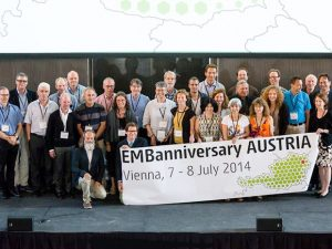 Speakers, session chairs and special guests from Austria and abroad, with past and present links to EMBO and EMBL, unite at EMBanniversary celebration. PHOTO: CeMM
