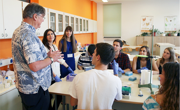 Nobel Laureate Tim Hunt shares his expertise and experience with the group. PHOTO: Jelena Tica