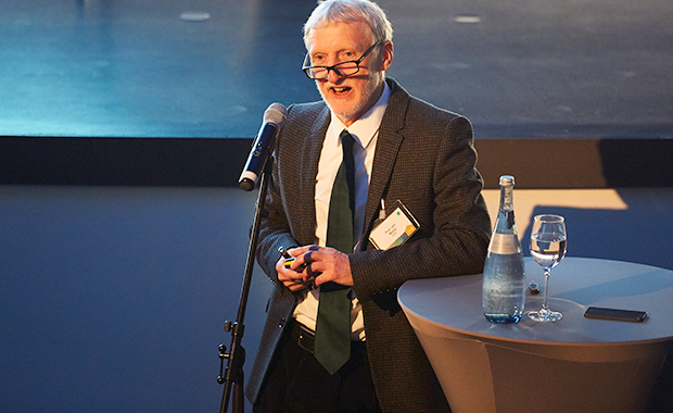 Iain Mattaj welcomes guests in a keynote address. PHOTO: EMBL Photolab/Marietta Schupp