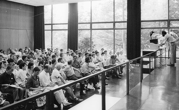 Discussing EMBL at the Max Planck Institute –  photos from staff and alumni of professional and social activities at EMBL are among items added to the EMBL Archive so far. PHOTO: EMBL Photolab