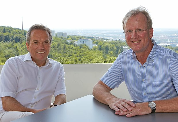 Matthias Hentze (left) and Andreas Kulozik (right) at EMBL Heidelberg. PHOTO: EMBL Photolab/Marietta Schupp
