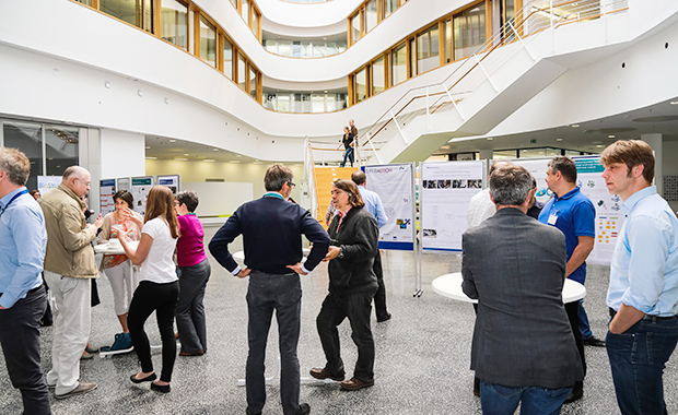 Ample time for networking and discussions in the striking CFEL building foyer. PHOTO: EMBL/Rosemary Wilson