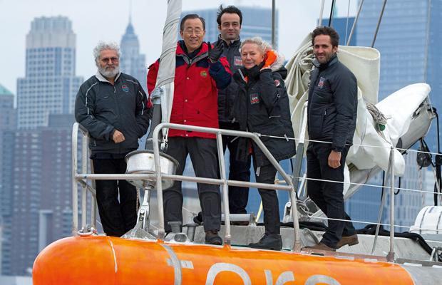 EMBL's Eric Karsenti (far left) joins UN Secretary General Ban Ki-Moon on Tara's bow. PHOTO: J. Girardot/Tara Expeditions