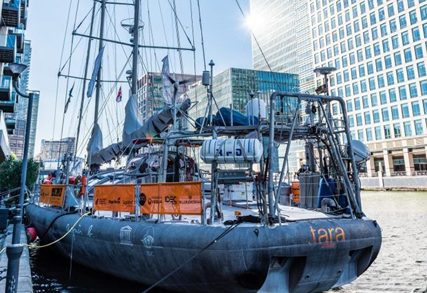 Tara expeditions docks in London, September 2015, on its way to the UN Climate Change Conference in Paris. [PHOTO: Robert Slowley]