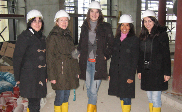 Construction site of the Advanced Training Centre in 2009 (left to right: Sally Böhm, Bettina Schäfer, Antje Seeck, Jacqueline Dreyer-Lamm, Adela Valceanu) PHOTO: EMBL Photolab