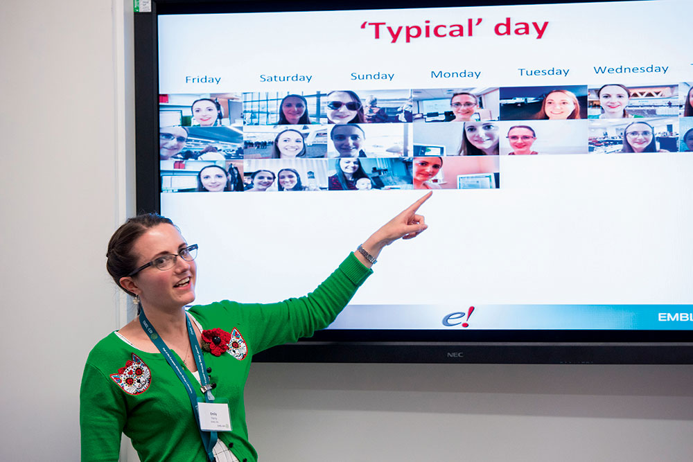 What's a typical day for an Ensembl Outreach Officer? Emily Perry shows us at EMBL-EBI Open Day 2015 on 29 October. PHOTO: Robert Slowley