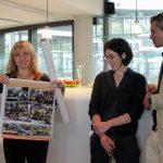 Gift presentation in the EMBL ATC rooftop lounge. PHOTO: Caroline Median