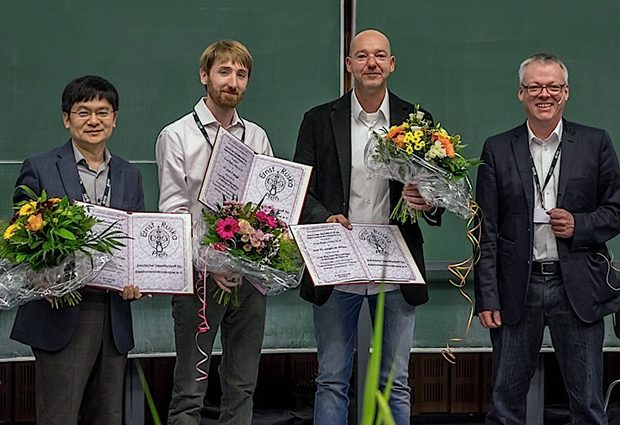 John Briggs (second from left) is presented with the Ernst Ruska Prize at the Microscopy Conference 2015 in Göttingen, Germany. PHOTO:  MC 2015
