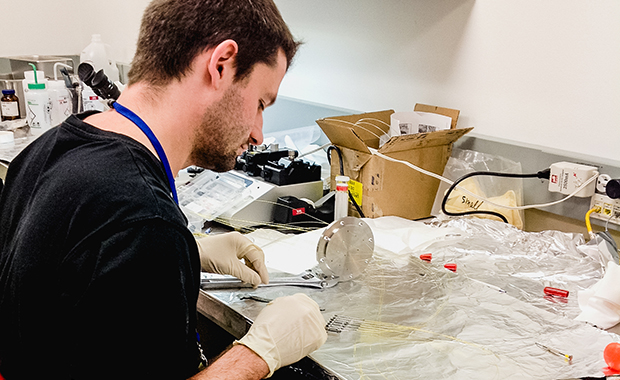 Daniel Passon prepares nozzles for sample delivery via liquid jet. PHOTO: EMBL/Daniel Passon