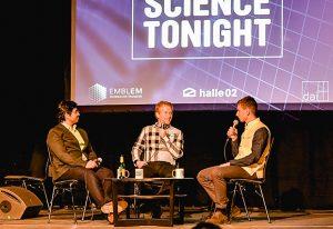 Vasily Sysoev, right, hosts Prakash Balasubramanian and Lars Steinmetz at Science Tonight.