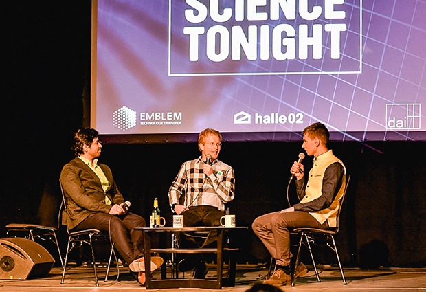Vasily Sysoev, right, hosts Prakash Balasubramanian and Lars Steinmetz at Science Tonight.