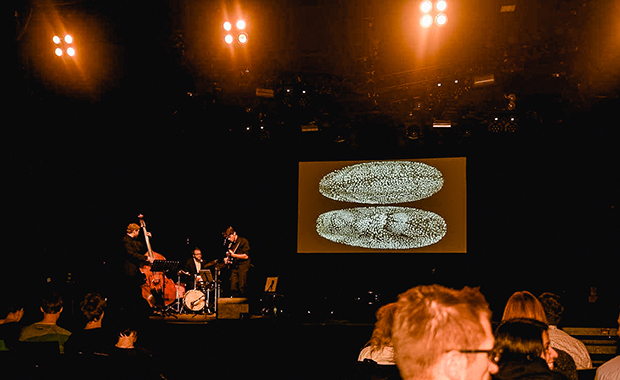 Science Tonight in Heidelberg included live jazz accompaniment and beautiful scientific images. PHOTO: Vasily Sysoev