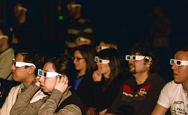 Seeing things from a new perspective: the Science Tonight audience dons 3D glasses to admire EMBL science in 3D.