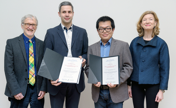 From left to right: Iain Mattaj, Edward Lemke, Hai-Kun Liu, and Hannah Monyer at the ceremony of the Chica and Heinz Schaller Research Award. PHOTO: CHS Stiftung