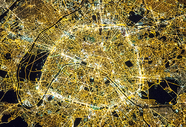 Paris at night. IMAGE: NASA (M. Justin Wilkinson, Texas State University, Jacobs Contract at NASA-JSC)