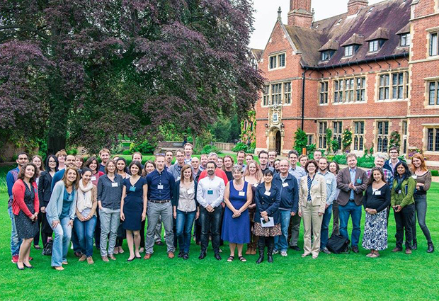 UK-based EMBL alumni gather at Trinity Hall, Cambridge in May 2016. PHOTO: Robert Slowley