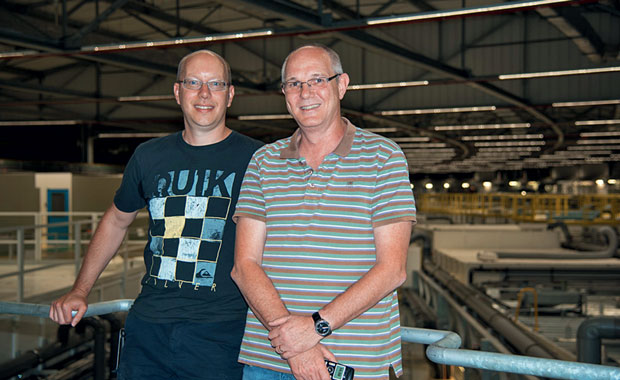 Working together on the ESRF upgrade: EMBL group leader Andrew McCarthy (left) and Gordon Leonard, Head of the Structural Biology Group at the ESRF