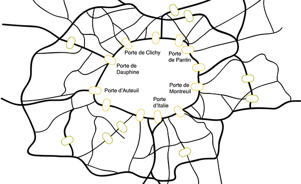 Just as portes in the Périphérique regulate traffic and link Paris to its metropolitan region, nuclear pores control traffic between the nucleus and the rest of the cell. ILLUSTRATION: Bernhard Hampoelz