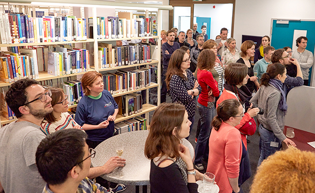 Guests gather to celebrate the reopening of the Szilárd Library in May 2016. PHOTO: EMBL/Marietta Schupp