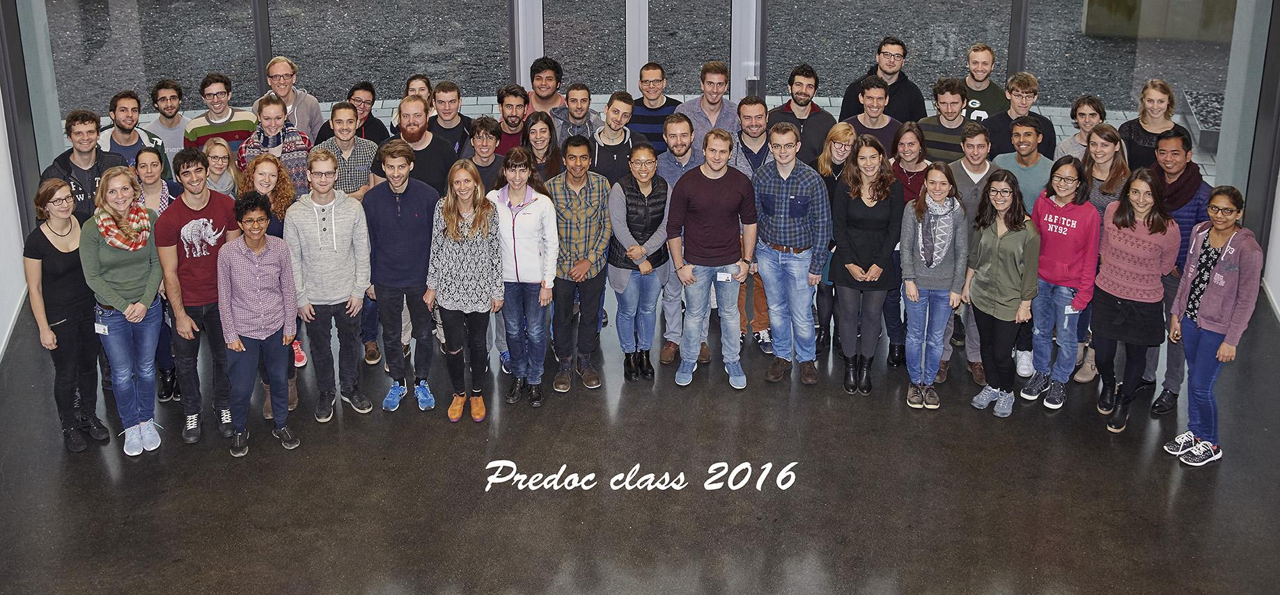 The 2016 intake of EMBL PhD students