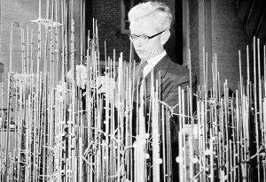 John Kendrew with model of myoglobin in progress. © MRC Laboratory of Molecular Biology