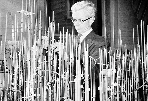 John Kendrew with model of myoglobin in progress. © MRC Laboratory of Molecular Biology