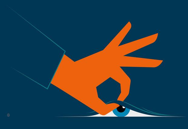 A hand lifting a curtain, revealing a blue eye behind the curtain