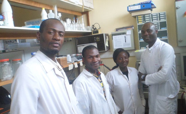 Members of the Department of Biochemistry at University of Dschang, Cameroon with donated equipment. PHOTO: Gustave SIMO and Sartrien KANTE