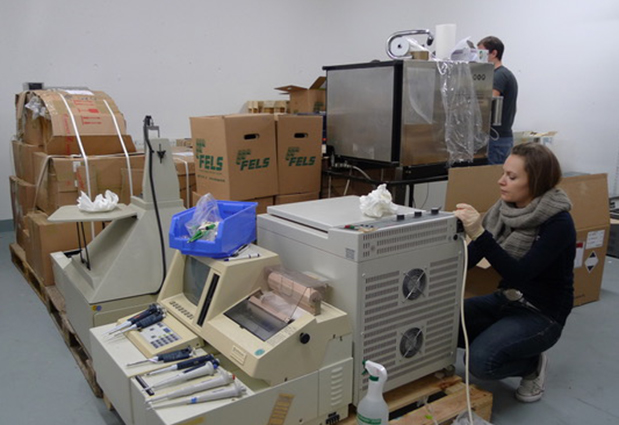 Lea Geiselhardt, former vice-president of the NGO, while cleaning and packing instruments. PHOTO: Jacqueline Dreyer-Lamm
