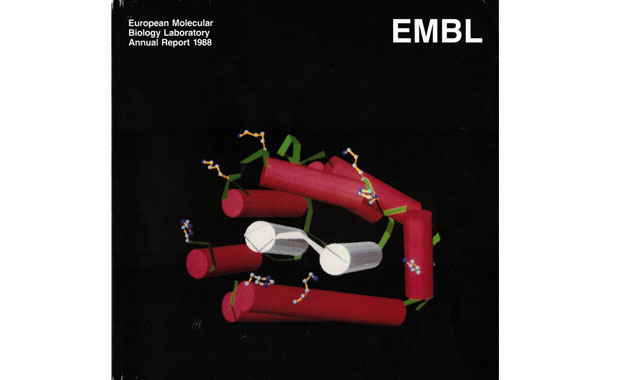 While at EMBL, Michael Parker and collaborators solved the structure of colicin, with an image of the work gracing the cover of EMBL's 1988 annual report.