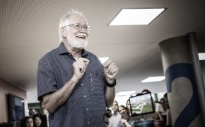 Photo of Jacques Dubochet giving a talk