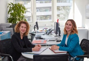 A photo of Jana Pavlic and Plamena Markova, EMBL's Joint Heads of Government and EU Relations. PHOTO: Hugo Neves/EMBL Photolab