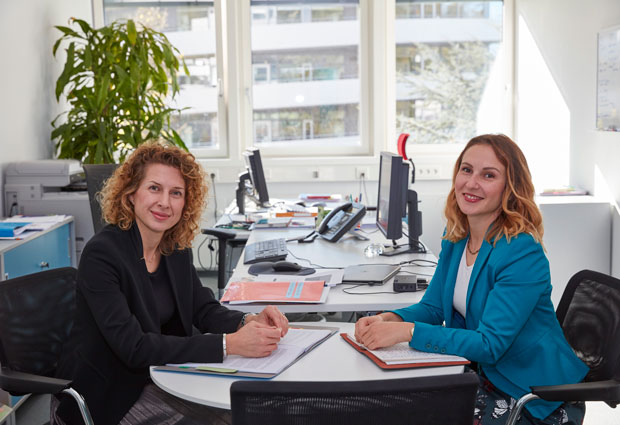 A photo of Jana Pavlic and Plamena Markova, EMBL's Joint Heads of Government and EU Relations. PHOTO: Hugo Neves/EMBL Photolab