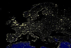 Europe at night viewed from space