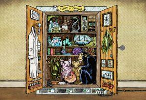 Artist interpretation of the database as a cabinet of curiosities
