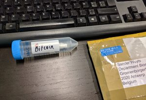 Sample of DNA with digital information stored in it