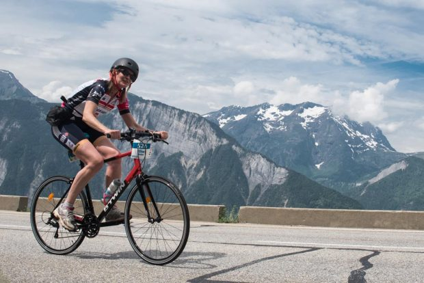 Elise Bralet cycling up the Alpe d'Hues