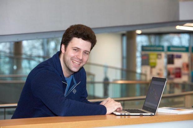 Jonas Hartmann in the ATC building at EMBL Heidelberg