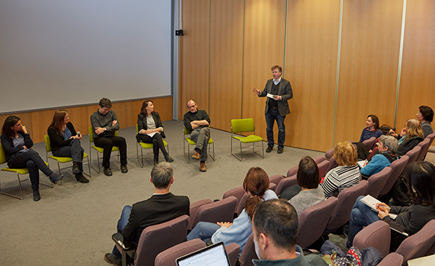 Panel discussion on the ERC grant formats and the opportunities and challenges of a closer connection with medicine. From left to right: Rocío Sotillo, DKFZ, Maja Köhn, University of Freiburg, Christian Häring, EMBL, Eileen Furlong, EMBL, Friedrich Frischknecht, Heidelberg University and Ewan Birney, Director of EMBL-EBI