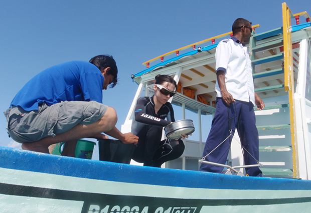 Benito-Gutiérrez searching for cephalochordates on board the dhoni boat