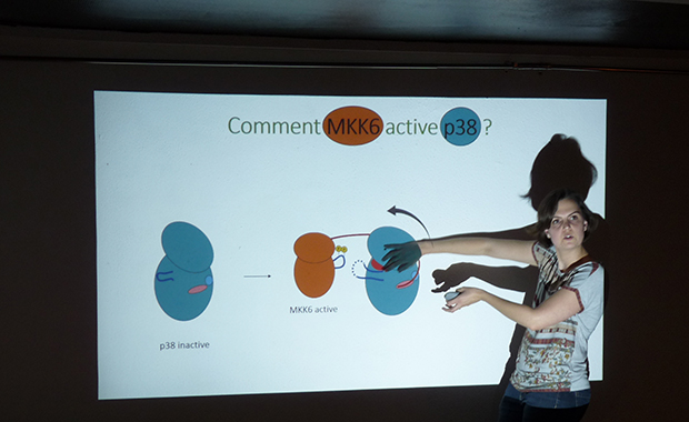 Pauline Juyoux presents the molecules important for inflammation alongside Erika Pellegrini at the event in Grenoble.