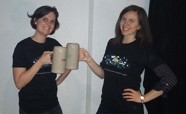 Pauline Juyoux and Erika Pellegrini at Pint of Science.